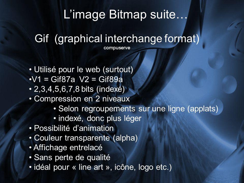 Limage Bitmap suite… Gif (graphical interchange format) compuserve Utilisé pour le web (surtout) V1 = Gif87a V2 = Gif89a 2,3,4,5,6,7,8 bits (indexé) Compression en 2 niveaux Selon regroupements sur une ligne (applats) indexé, donc plus léger Possibilité danimation Couleur transparente (alpha) Affichage entrelacé Sans perte de qualité idéal pour « line art », icône, logo etc.)