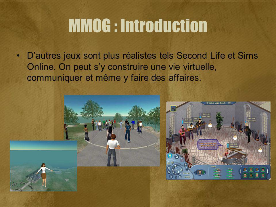 MMOG : Introduction Dautres jeux sont plus réalistes tels Second Life et Sims Online. On peut sy construire une vie virtuelle, communiquer et même y f
