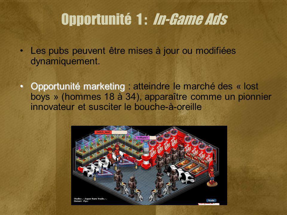 Opportunité 1 : In-Game Ads Les pubs peuvent être mises à jour ou modifiées dynamiquement. Opportunité marketingOpportunité marketing : atteindre le m