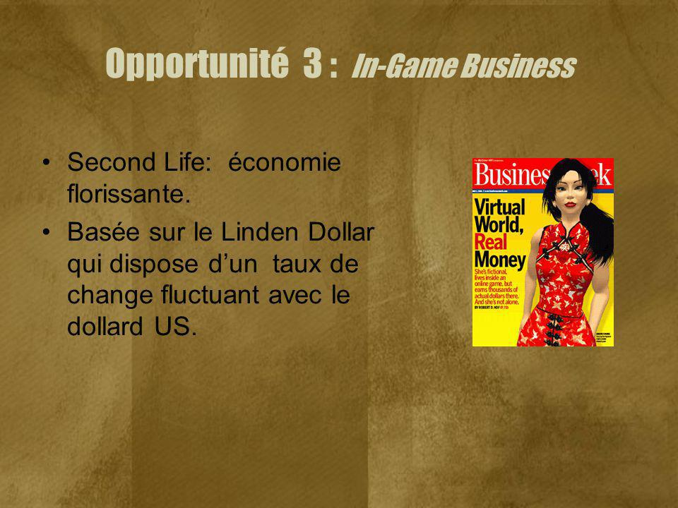 Opportunité 3 : In-Game Business Second Life: économie florissante.