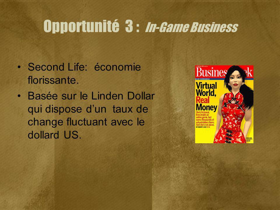 Opportunité 3 : In-Game Business Second Life: économie florissante. Basée sur le Linden Dollar qui dispose dun taux de change fluctuant avec le dollar