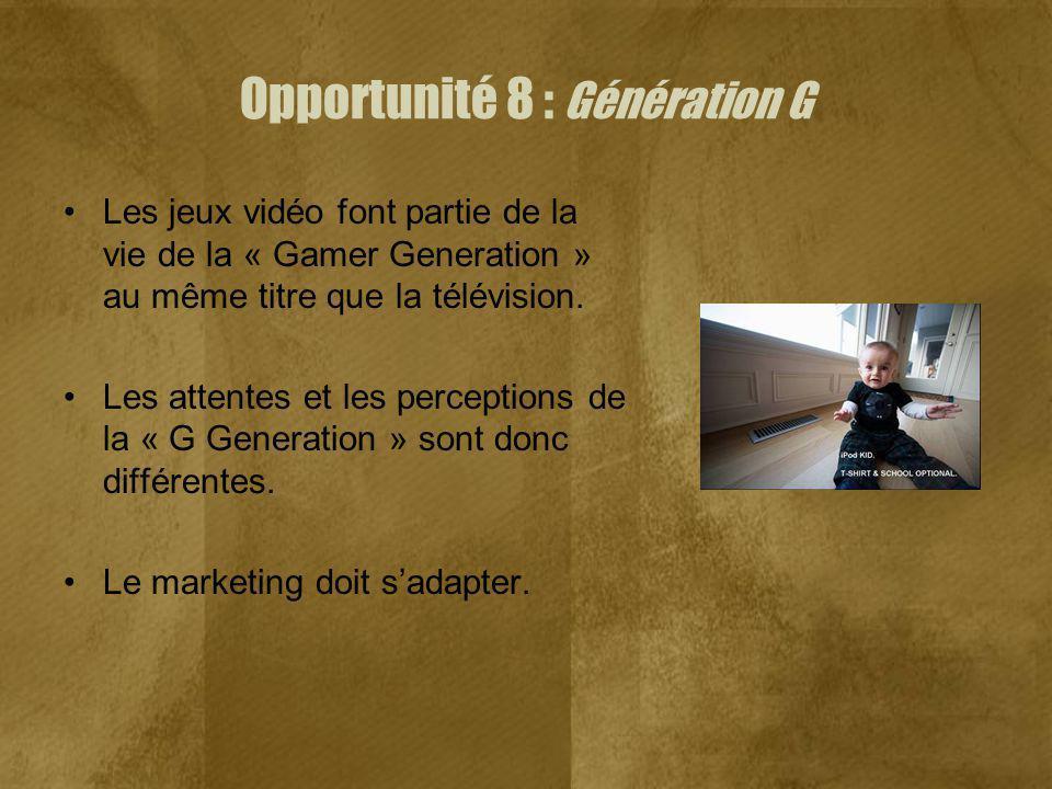 Opportunité 8 : Génération G Les jeux vidéo font partie de la vie de la « Gamer Generation » au même titre que la télévision. Les attentes et les perc