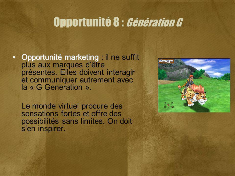 Opportunité marketingOpportunité marketing : il ne suffit plus aux marques dêtre présentes. Elles doivent interagir et communiquer autrement avec la «