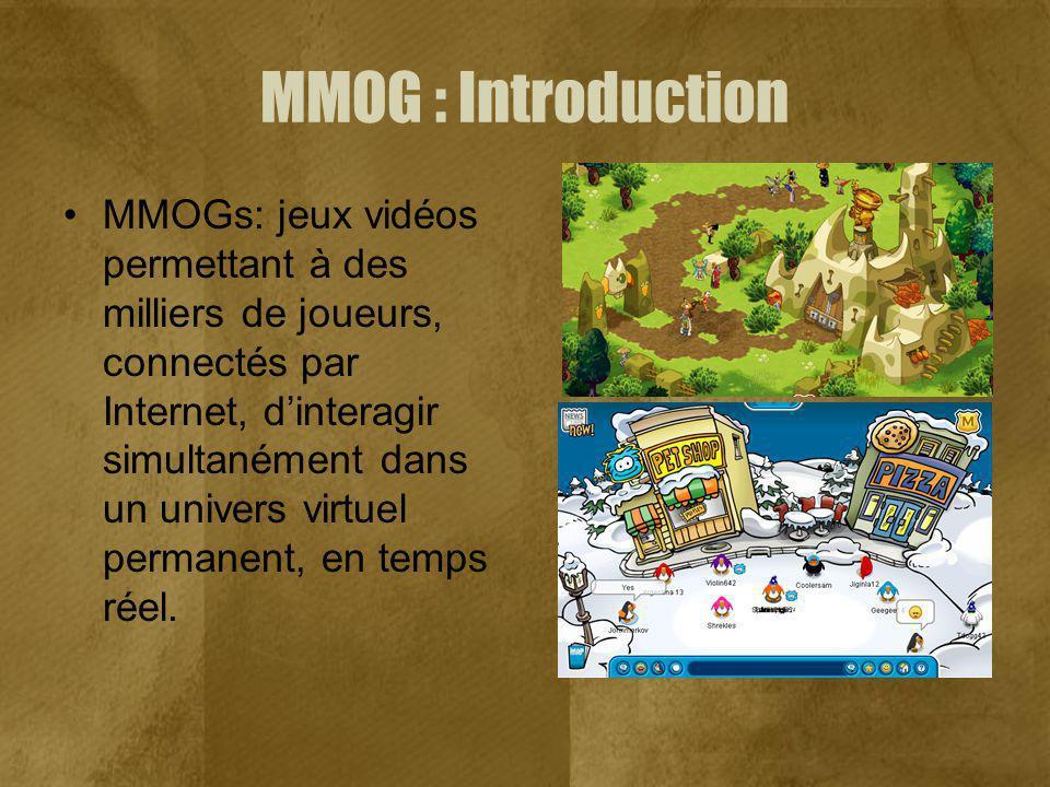 MMOG : Introduction MMOGs: jeux vidéos permettant à des milliers de joueurs, connectés par Internet, dinteragir simultanément dans un univers virtuel permanent, en temps réel.