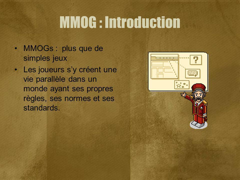 MMOG : Introduction MMOGs : plus que de simples jeux Les joueurs sy créent une vie parallèle dans un monde ayant ses propres règles, ses normes et ses standards.