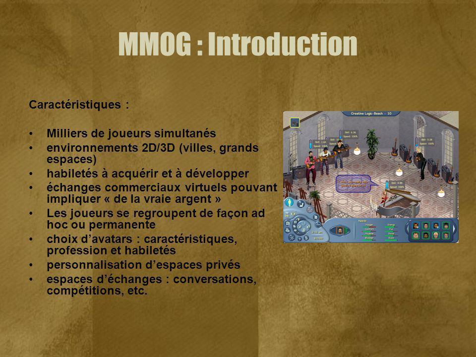 MMOG : Introduction Caractéristiques : Milliers de joueurs simultanés environnements 2D/3D (villes, grands espaces) habiletés à acquérir et à développ