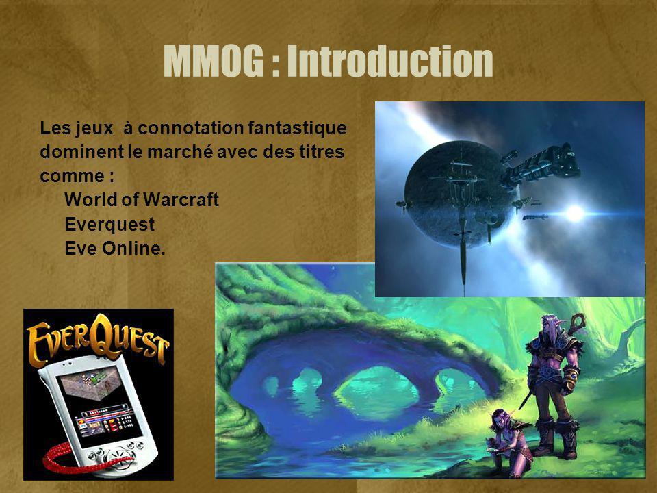 MMOG : Introduction Les jeux à connotation fantastique dominent le marché avec des titres comme : World of Warcraft Everquest Eve Online.