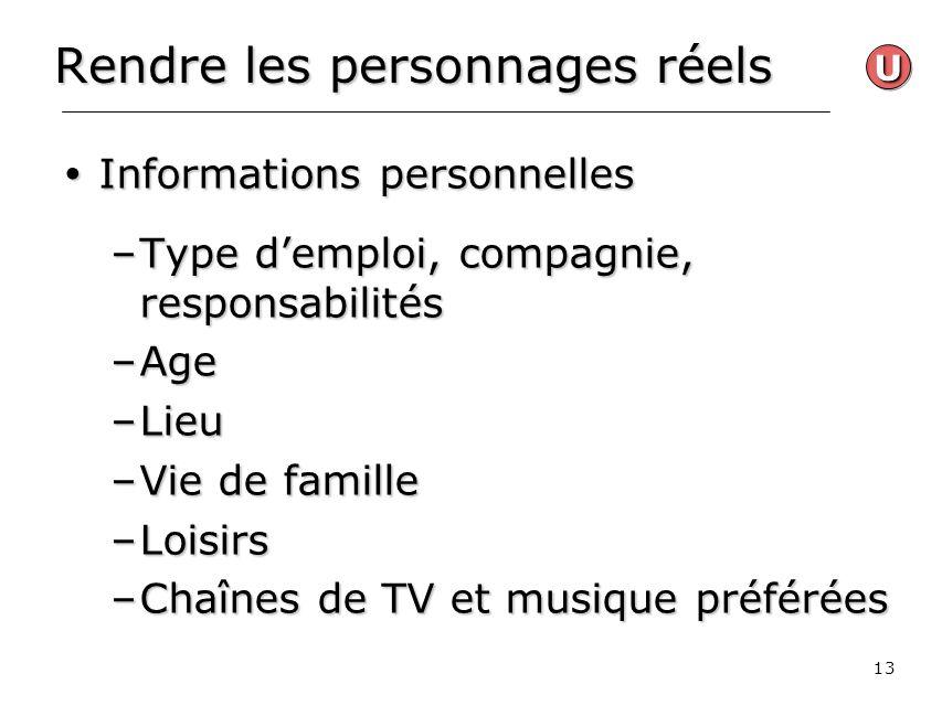 13 Rendre les personnages réels Informations personnelles Informations personnelles –Type demploi, compagnie, responsabilités –Age –Lieu –Vie de famil