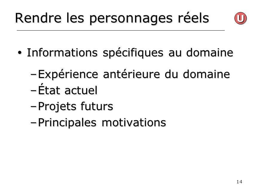 14 Rendre les personnages réels Informations spécifiques au domaine Informations spécifiques au domaine –Expérience antérieure du domaine –État actuel
