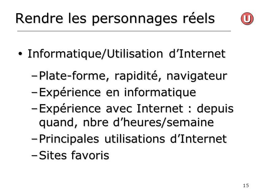 15 Rendre les personnages réels Informatique/Utilisation dInternet Informatique/Utilisation dInternet –Plate-forme, rapidité, navigateur –Expérience e