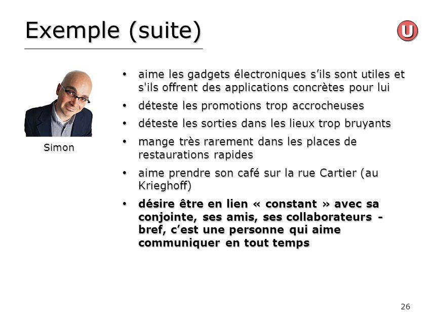 26 Exemple (suite) aime les gadgets électroniques sils sont utiles et s'ils offrent des applications concrètes pour lui aime les gadgets électroniques