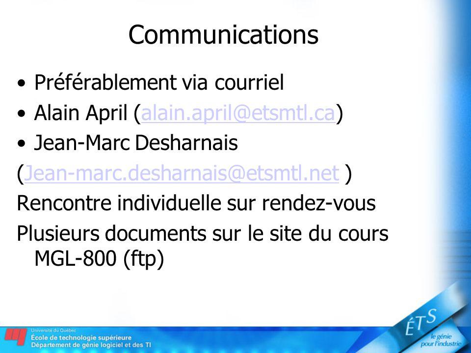 Communications Préférablement via courriel Alain April (alain.april@etsmtl.ca)alain.april@etsmtl.ca Jean-Marc Desharnais (Jean-marc.desharnais@etsmtl.