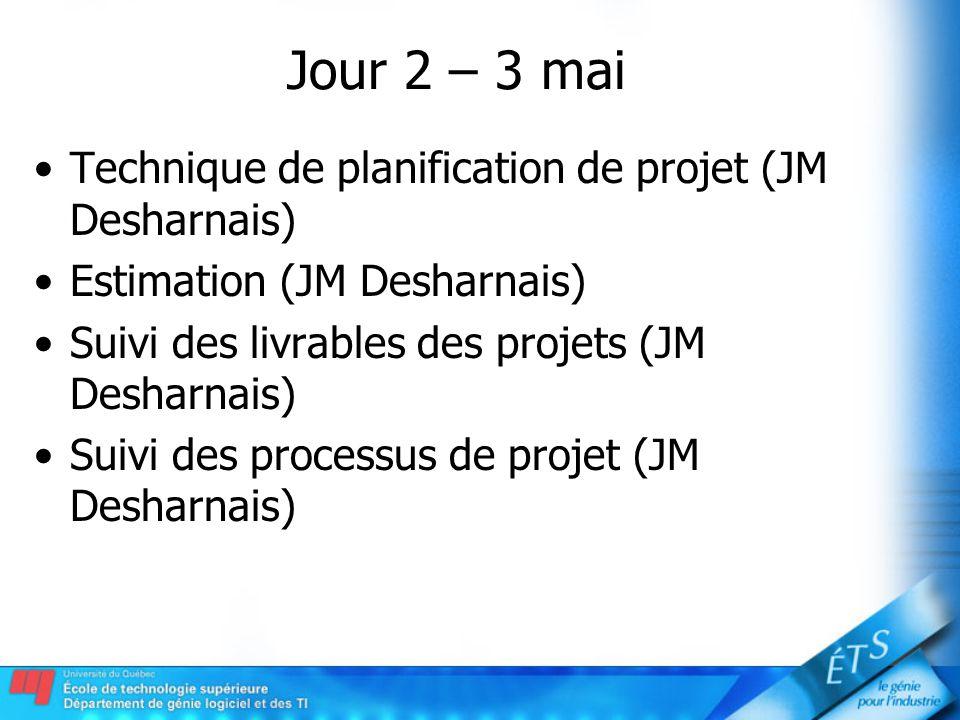 Jour 2 – 3 mai Technique de planification de projet (JM Desharnais) Estimation (JM Desharnais) Suivi des livrables des projets (JM Desharnais) Suivi d