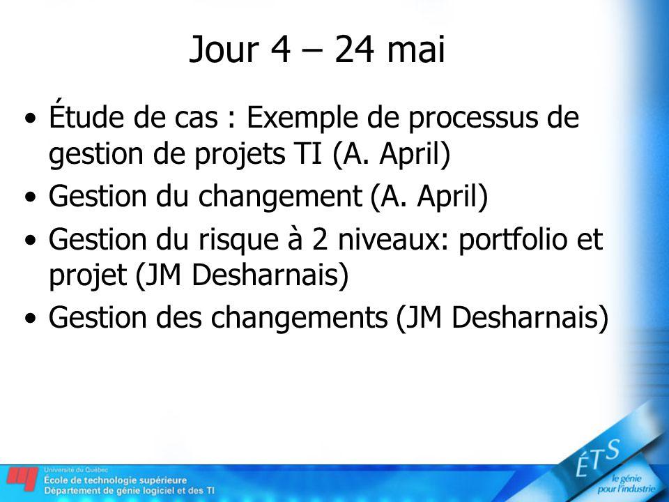 Jour 4 – 24 mai Étude de cas : Exemple de processus de gestion de projets TI (A. April) Gestion du changement (A. April) Gestion du risque à 2 niveaux