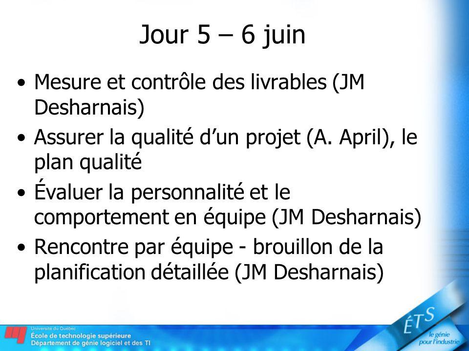 Jour 5 – 6 juin Mesure et contrôle des livrables (JM Desharnais) Assurer la qualité dun projet (A. April), le plan qualité Évaluer la personnalité et