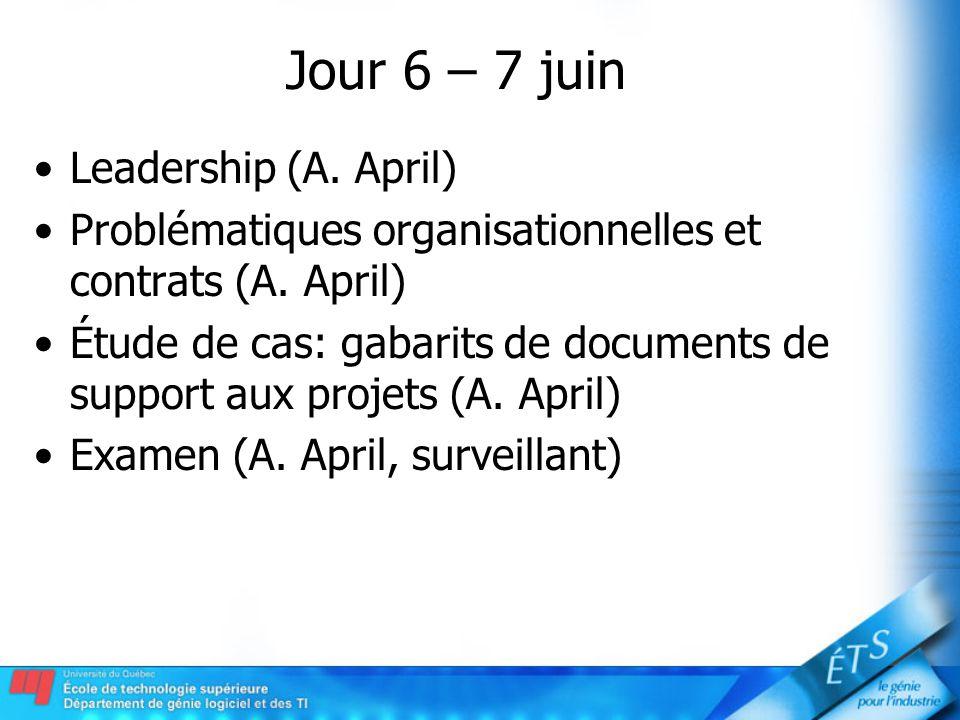Jour 6 – 7 juin Leadership (A. April) Problématiques organisationnelles et contrats (A. April) Étude de cas: gabarits de documents de support aux proj