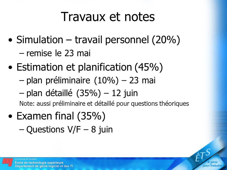 Travaux et notes Simulation – travail personnel (20%) –remise le 23 mai Estimation et planification (45%) –plan préliminaire (10%) – 23 mai –plan déta