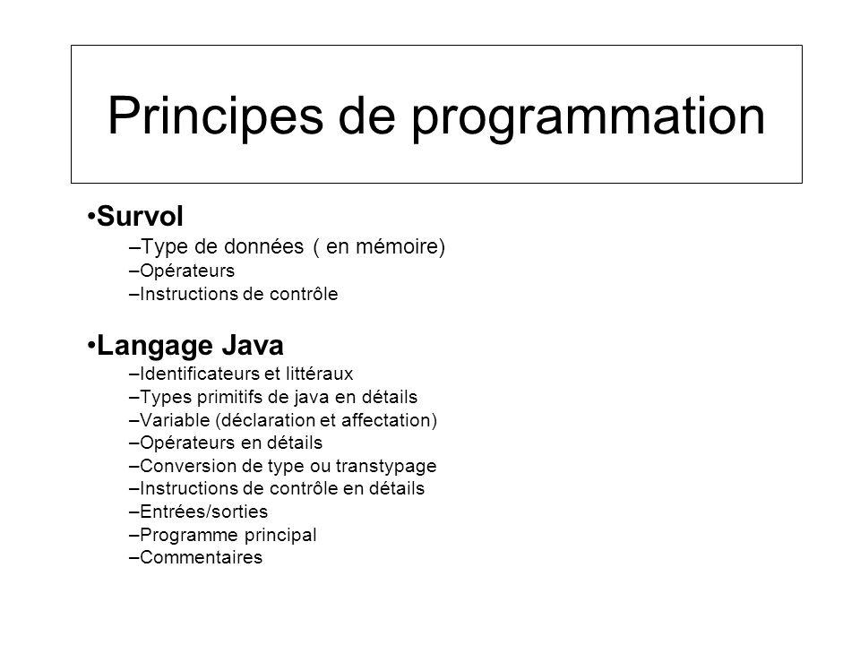 Principes de programmation Survol –Type de données ( en mémoire) –Opérateurs –Instructions de contrôle Langage Java –Identificateurs et littéraux –Typ