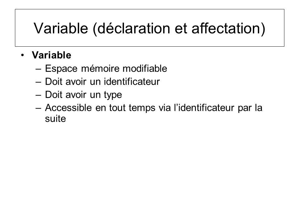 Variable (déclaration et affectation) Variable –Espace mémoire modifiable –Doit avoir un identificateur –Doit avoir un type –Accessible en tout temps