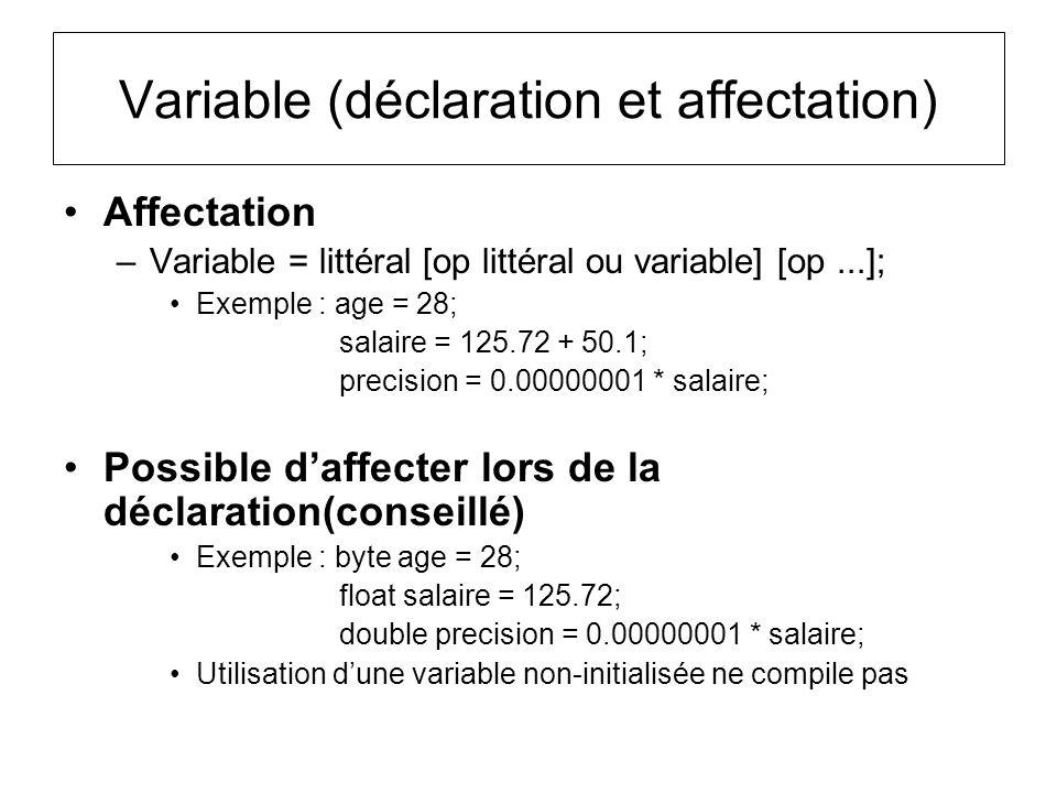 Affectation –Variable = littéral [op littéral ou variable] [op...]; Exemple : age = 28; salaire = 125.72 + 50.1; precision = 0.00000001 * salaire; Pos