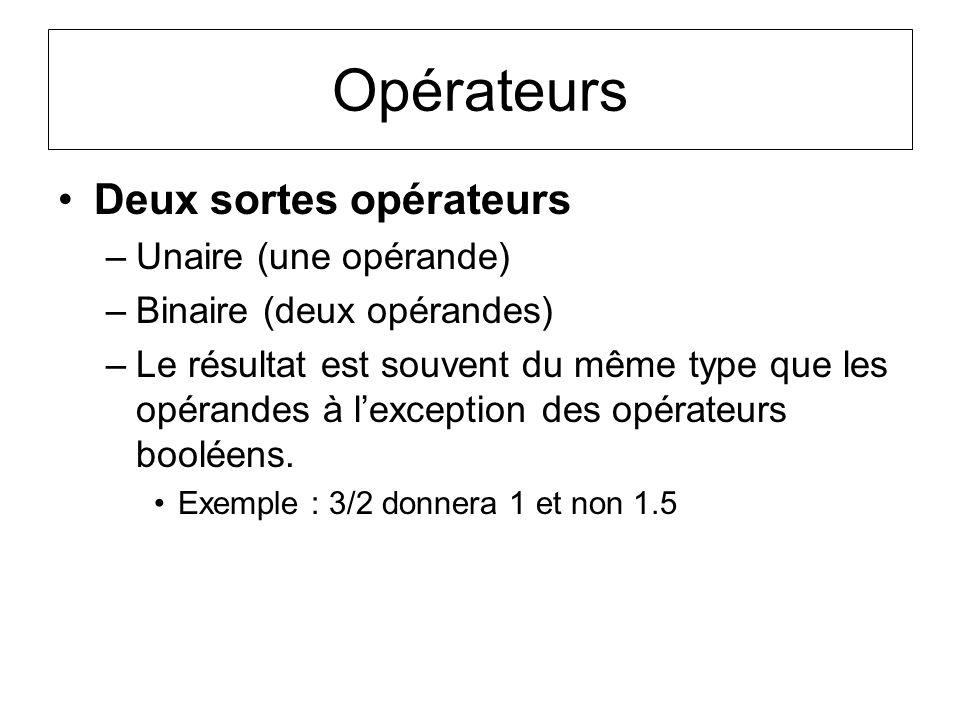 Opérateurs Deux sortes opérateurs –Unaire (une opérande) –Binaire (deux opérandes) –Le résultat est souvent du même type que les opérandes à lexceptio