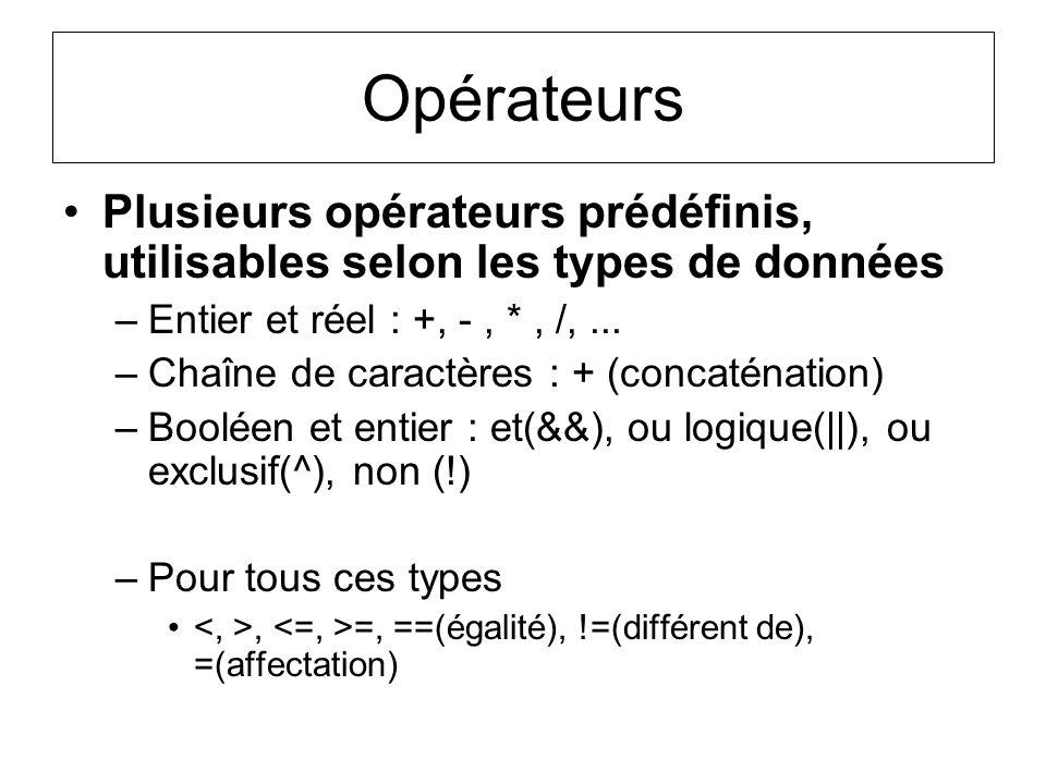 Opérateurs Plusieurs opérateurs prédéfinis, utilisables selon les types de données –Entier et réel : +, -, *, /,... –Chaîne de caractères : + (concaté