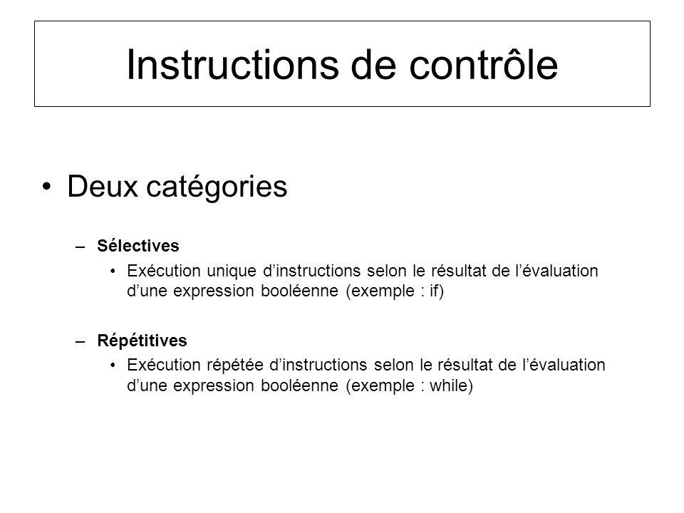 Instructions de contrôle Deux catégories –Sélectives Exécution unique dinstructions selon le résultat de lévaluation dune expression booléenne (exempl