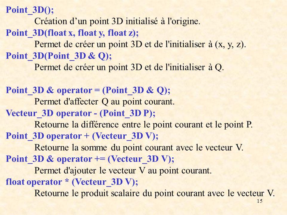 15 Point_3D(); Création dun point 3D initialisé à l'origine. Point_3D(float x, float y, float z); Permet de créer un point 3D et de l'initialiser à (x