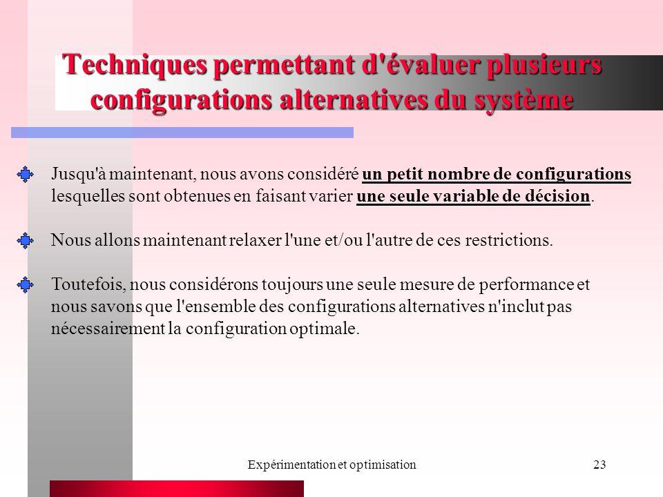 Expérimentation et optimisation23 Techniques permettant d évaluer plusieurs configurations alternatives du système Jusqu à maintenant, nous avons considéré un petit nombre de configurations lesquelles sont obtenues en faisant varier une seule variable de décision.