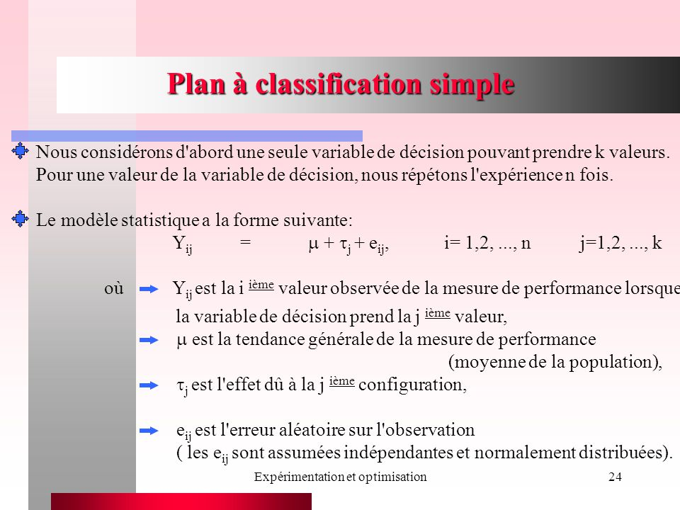 Expérimentation et optimisation24 Plan à classification simple est la tendance générale de la mesure de performance (moyenne de la population), j est l effet dû à la j ième configuration, e ij est l erreur aléatoire sur l observation ( les e ij sont assumées indépendantes et normalement distribuées).