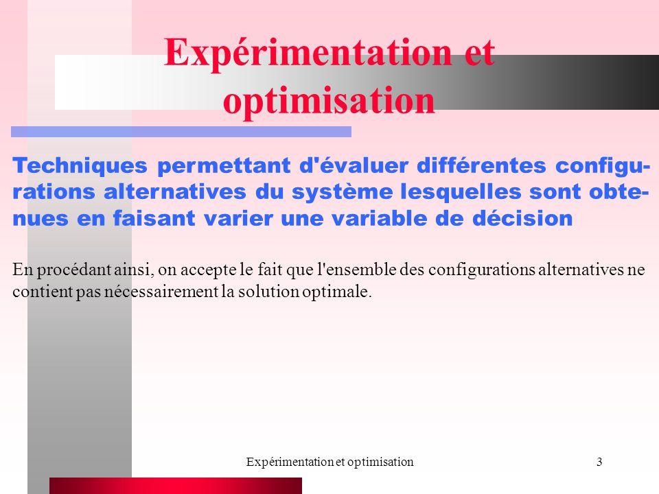 Expérimentation et optimisation3 Techniques permettant d évaluer différentes configu- rations alternatives du système lesquelles sont obte- nues en faisant varier une variable de décision En procédant ainsi, on accepte le fait que l ensemble des configurations alternatives ne contient pas nécessairement la solution optimale.