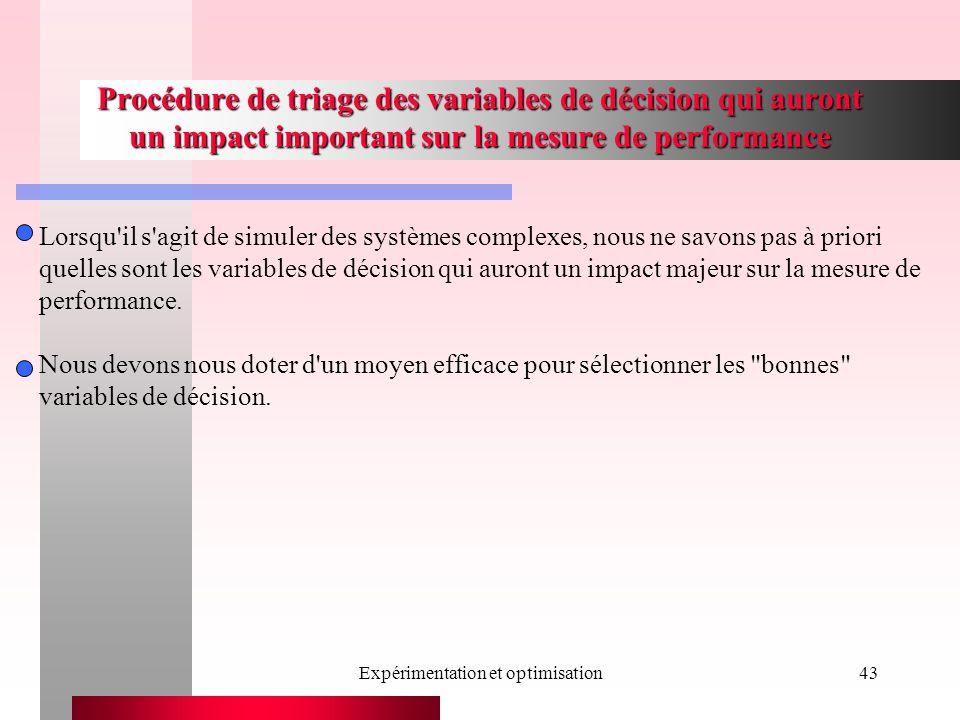 Expérimentation et optimisation43 Procédure de triage des variables de décision qui auront un impact important sur la mesure de performance Lorsqu il s agit de simuler des systèmes complexes, nous ne savons pas à priori quelles sont les variables de décision qui auront un impact majeur sur la mesure de performance.