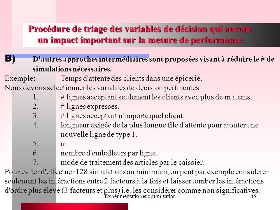 Expérimentation et optimisation45 Procédure de triage des variables de décision qui auront un impact important sur la mesure de performance B) D'autre