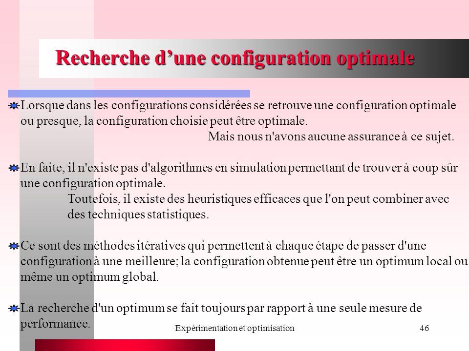 Expérimentation et optimisation46 Recherche dune configuration optimale Lorsque dans les configurations considérées se retrouve une configuration optimale ou presque, la configuration choisie peut être optimale.