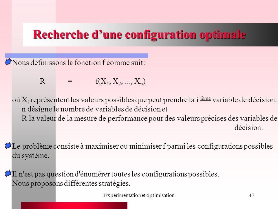 Expérimentation et optimisation47 Recherche dune configuration optimale Nous définissons la fonction f comme suit: R=f(X 1, X 2,..., X n ) où X i représentent les valeurs possibles que peut prendre la i ième variable de décision, n désigne le nombre de variables de décision et R la valeur de la mesure de performance pour des valeurs précises des variables de décision.