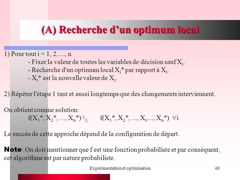 Expérimentation et optimisation48 (A) Recherche dun optimum local 1) Pour tout i = 1, 2,..., n - Fixer la valeur de toutes les variables de décision sauf X i.
