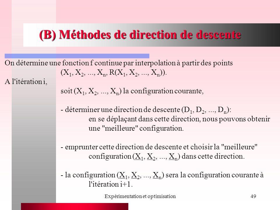 Expérimentation et optimisation49 (B) Méthodes de direction de descente On détermine une fonction f continue par interpolation à partir des points (X 1, X 2,..., X n, R(X 1, X 2,..., X n )).