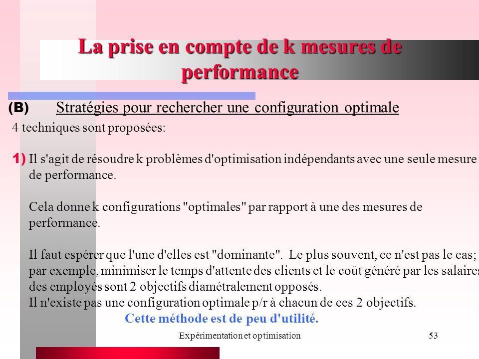 Expérimentation et optimisation53 La prise en compte de k mesures de performance (B) Stratégies pour rechercher une configuration optimale 4 techniques sont proposées: 1) Il s agit de résoudre k problèmes d optimisation indépendants avec une seule mesure de performance.