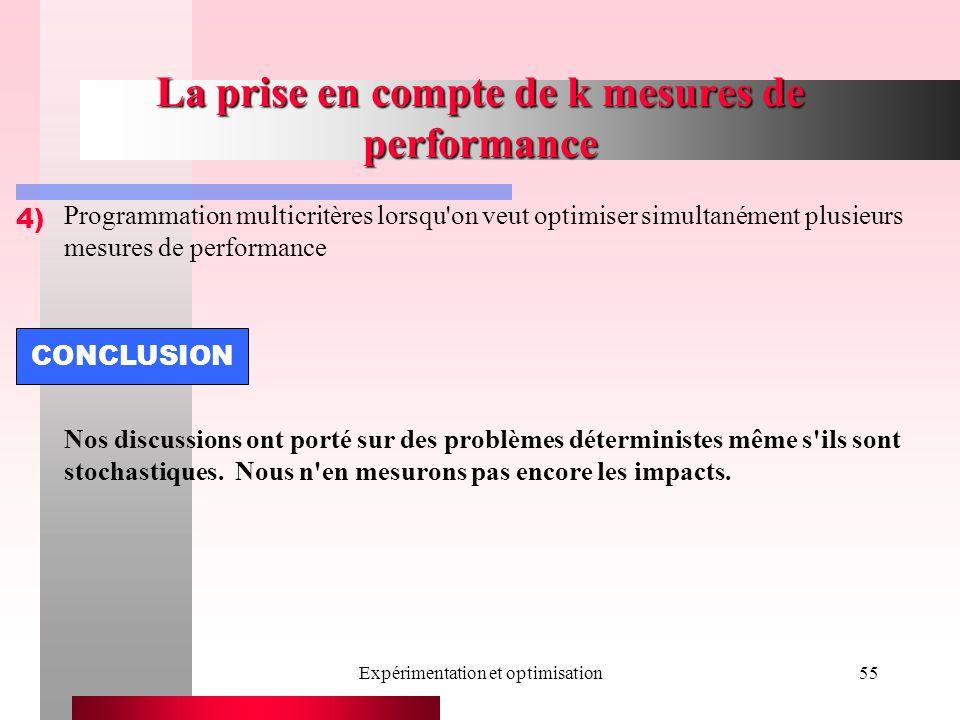 Expérimentation et optimisation55 La prise en compte de k mesures de performance 4) Programmation multicritères lorsqu on veut optimiser simultanément plusieurs mesures de performance Nos discussions ont porté sur des problèmes déterministes même s ils sont stochastiques.