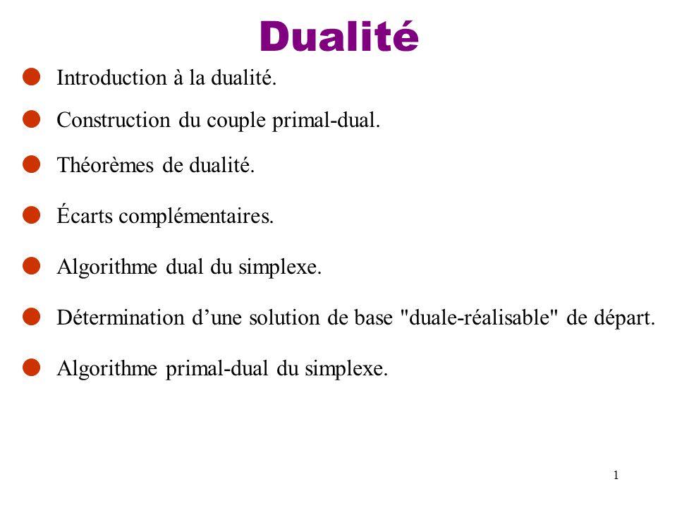 1 Dualité Introduction à la dualité. Construction du couple primal-dual. Théorèmes de dualité. Écarts complémentaires. Algorithme dual du simplexe. Dé
