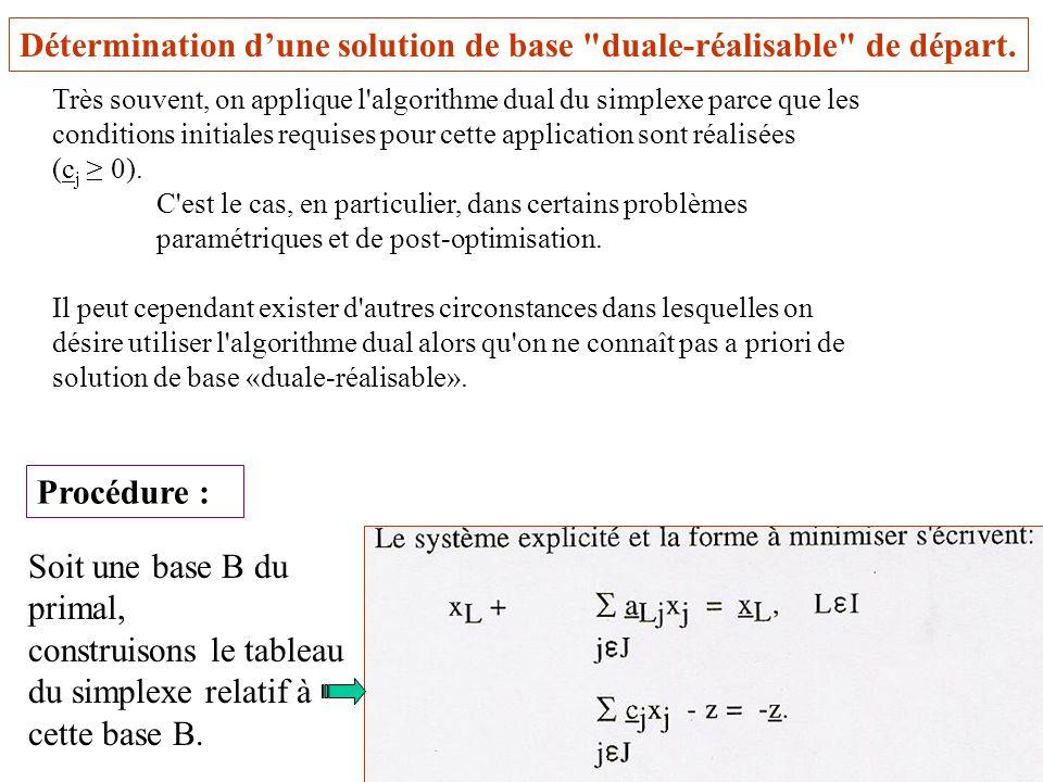 30 Détermination dune solution de base duale-réalisable de départ.