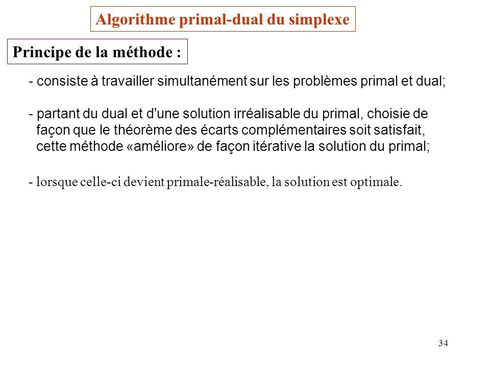 34 Algorithme primal-dual du simplexe Principe de la méthode : - consiste à travailler simultanément sur les problèmes primal et dual; - partant du dual et d une solution irréalisable du primal, choisie de façon que le théorème des écarts complémentaires soit satisfait, cette méthode «améliore» de façon itérative la solution du primal; - lorsque celle-ci devient primale-réalisable, la solution est optimale.