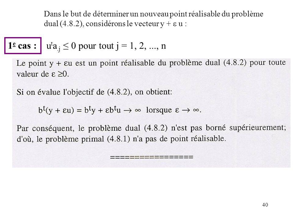 40 1 e cas : Dans le but de déterminer un nouveau point réalisable du problème dual (4.8.2), considérons le vecteur y + u : u t a.j 0 pour tout j = 1, 2,..., n