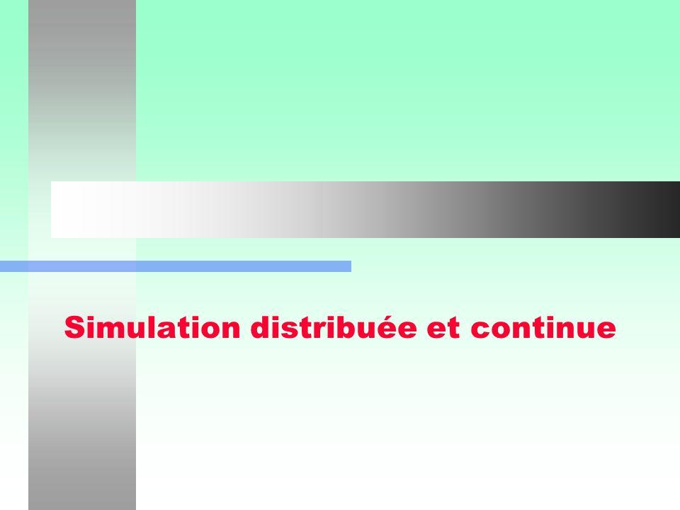 Simulation distribuée et simulation continue2 Simulation distribuée (Section 1.6; LAW & KELTON, 90) Des processeurs spécialisés sacquittent de fonctions spécialisées.