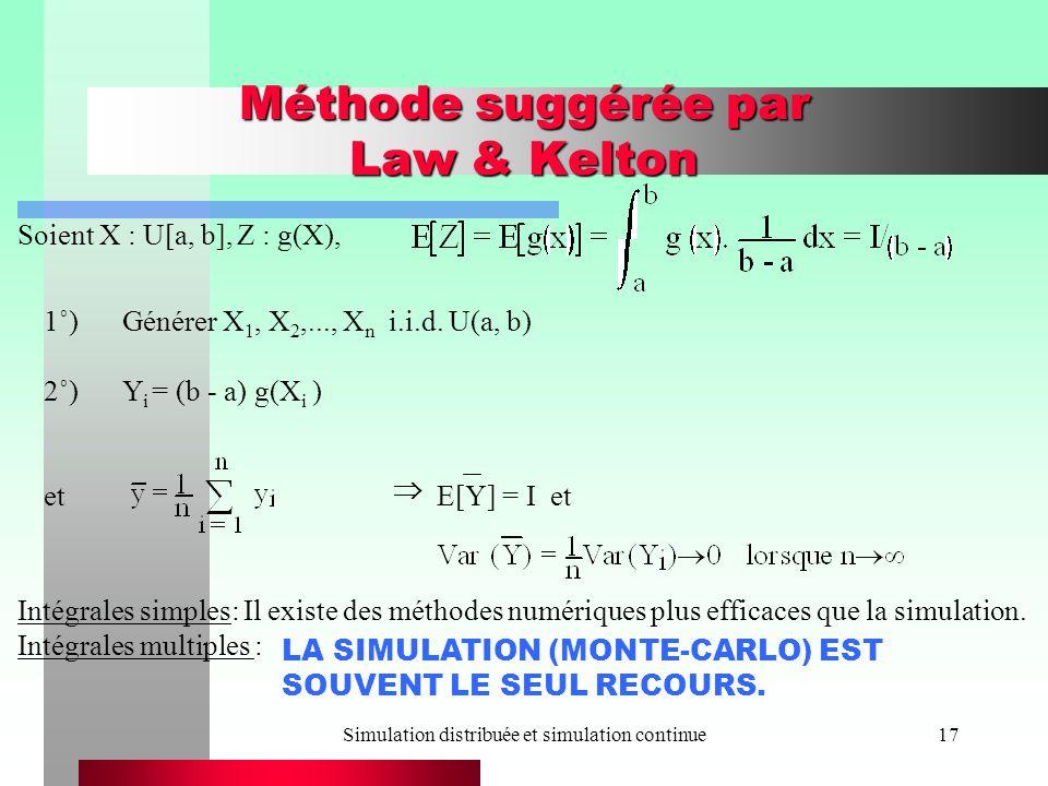 Simulation distribuée et simulation continue17 Méthode suggérée par Law & Kelton Soient X : U[a, b], Z : g(X), 1˚)Générer X 1, X 2,..., X n i.i.d.