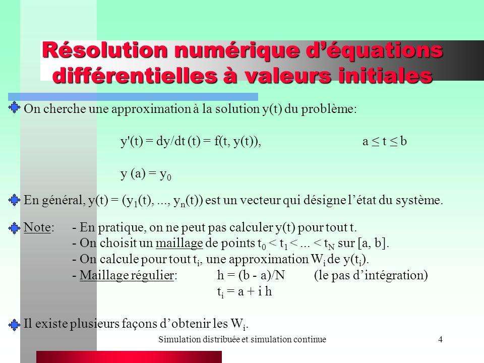 Simulation distribuée et simulation continue15 Résolution numérique déquations différentielles à valeurs initiales La méthode dEuler nest pas très efficace.