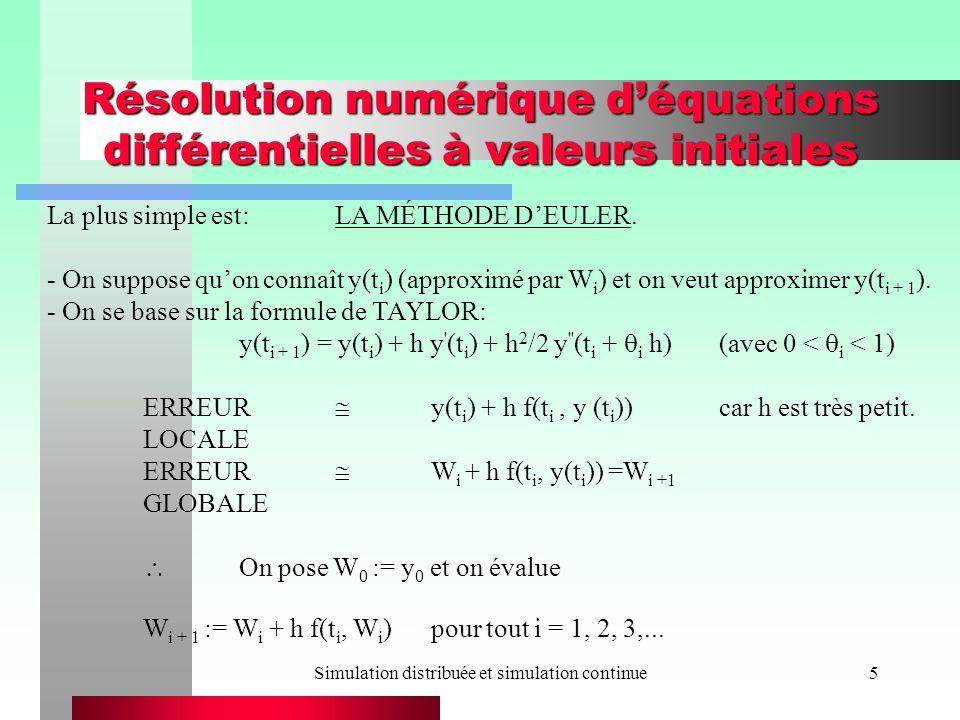 Simulation distribuée et simulation continue5 Résolution numérique déquations différentielles à valeurs initiales La plus simple est:LA MÉTHODE DEULER.