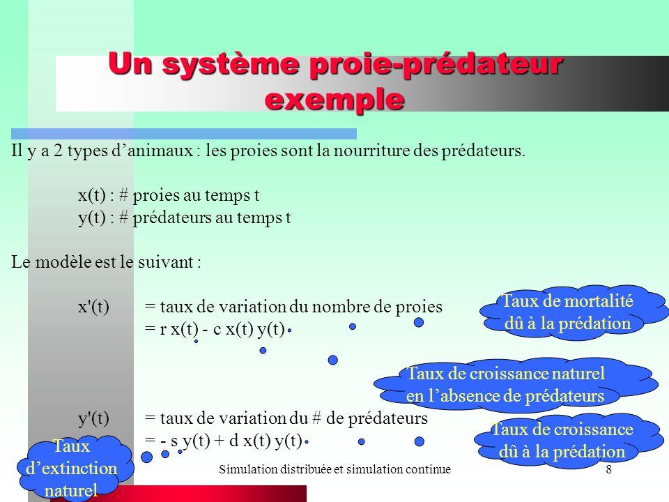 Simulation distribuée et simulation continue8 Un système proie-prédateur exemple Il y a 2 types danimaux : les proies sont la nourriture des prédateurs.
