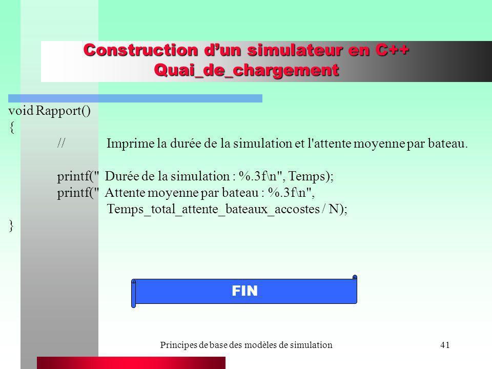 Principes de base des modèles de simulation41 Construction dun simulateur en C++ Quai_de_chargement void Rapport() { //Imprime la durée de la simulati