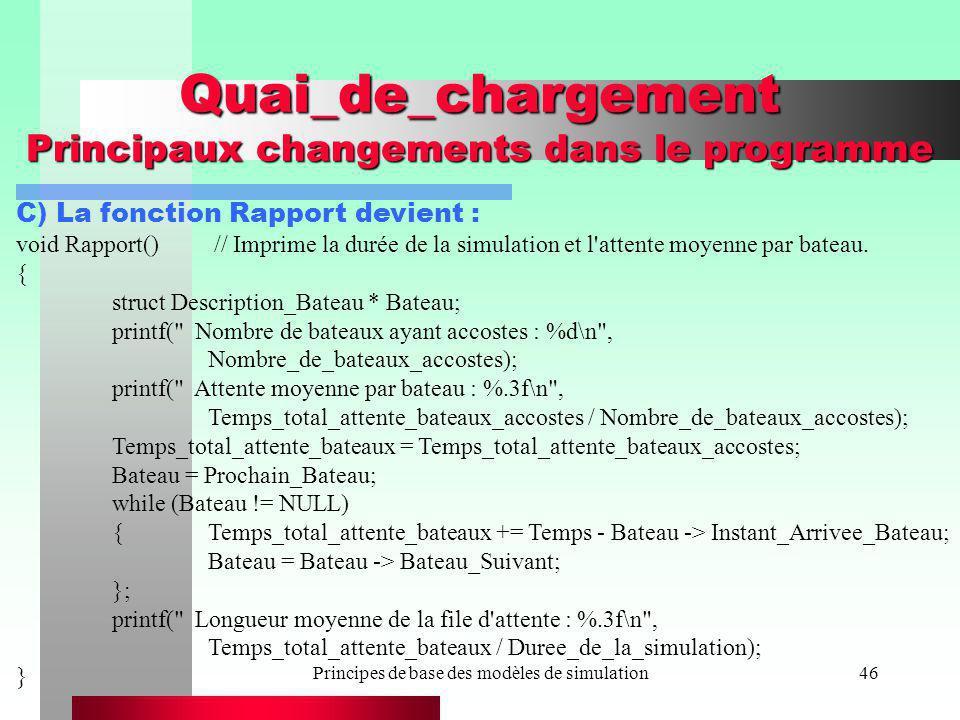 Principes de base des modèles de simulation46 Quai_de_chargement Principaux changements dans le programme C) La fonction Rapport devient : void Rappor